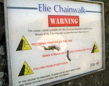 Elie Chain Walk warning sign