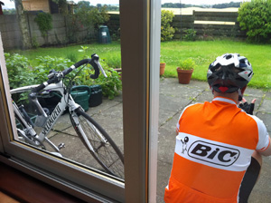 Bloke and bike, recovering after a long ride.
