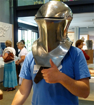 "Gareth in a knights helmet at Greenwich Museum, because: ""if you're going to put a picture of yourself on the internet you may as well use the one when you're wearing a cool helmet!"""
