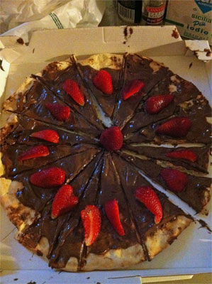 Nutella pizza. If this is wrong I don't want to be right.
